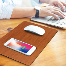 лучшая цена Wireless Charging Mousepad for Mobile Phone Mouse Qi Standard Wireless Charger Mouse Pad Mat PU Leather Waterproof Brown Black