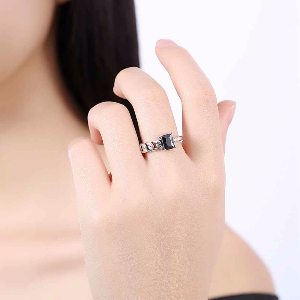 Solid 925 Sterling Silver Adjustable Ring Braided Rope Shape Black ...