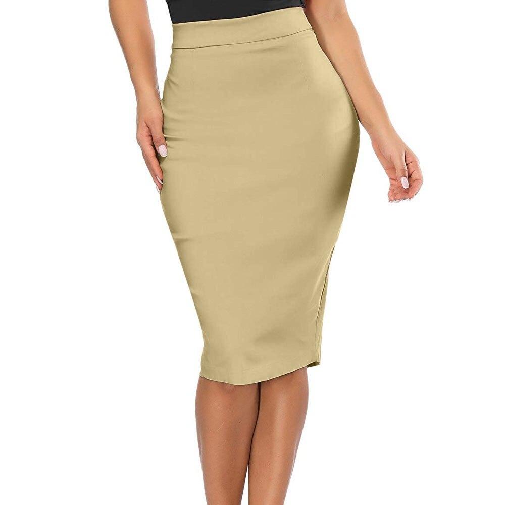 3XL Beige Office Lady Solid Split Midi Pencil Skirt Plain Mid Waist Slim Fitting Bodycon Kirt Workwear Modern Lady Skirts Jupe