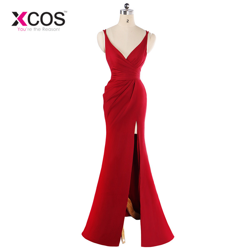XCOS 15 Colors Cheap   Bridesmaid     Dress   for Wedding Party   Dresses   Elegant Long Formal Mermaid Chiffon   Dress   vestido madrinha