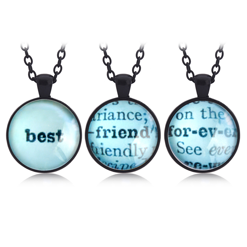 3pcs Set Best Friend Forever Pendant Time Necklaces Keychain Keyring BFF Friendship Jewelry Birthday Gift For Friends Ladybro