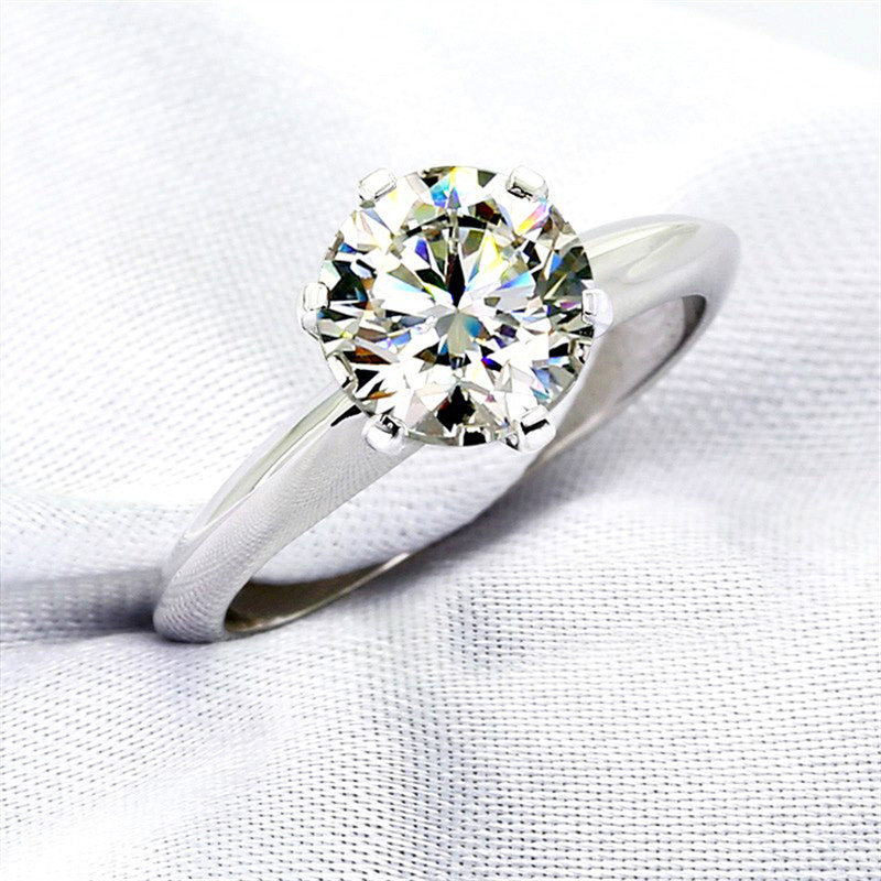 CC S925 Rings For Women Silver Color Wedding Ring Bridal Jewelry Round Stone Engagement Party Bijoux Femme Drop Shipping CC633 2