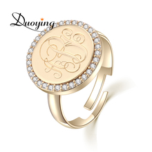 Duoying 15 mm Monogram A-Z Letter Rings Traditional Gold Coin Ring Cubic Zircon Custom Initial Name Personalized Rings for Etsy