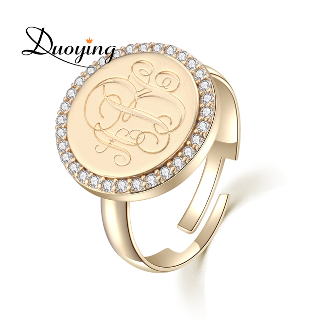 Relatively Duoying 15 mm Monogram A Z Letter Rings Traditional Gold Coin Ring  AQ88
