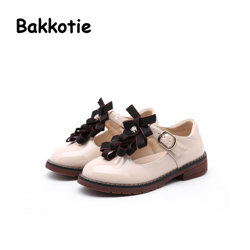 Bakkotie 2018 Spring New Fashion Mary Jane Patent Leather Bow Child Baby Casual Princess Shoe Flat Bow kid Brand Sweet Girl