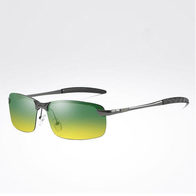 d1a5e4a3f8985d Vente Jour Nuit Vision Polarisées Lunettes lunettes de Soleil Pour Hommes  Lunettes de Conduite Anti Éblouissement Jaune Lentille Sans Monture Miroir  Soleil ...