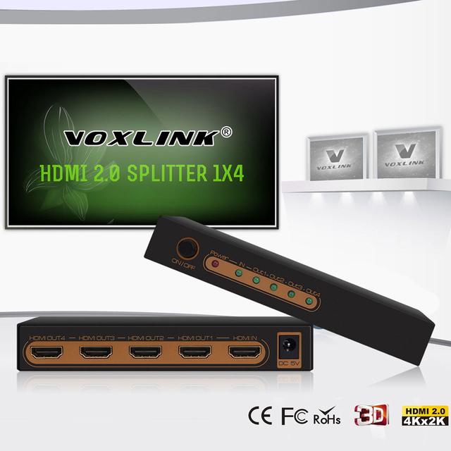 HDCP2.2 HDMI Splitter 2160 P 3D 4 К x 2 К Видео HDMI 2.0 Switcher Переключатель 1X4 сплит 1 в 4 Усилитель Конвертер Для HDTV DVD PS3 ПК
