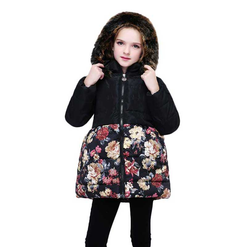 все цены на 4-9T Girls Clothes Fur Hooded Floral Print Vintage Down Coats Snowsuit Winter Jacket for Girls 2018 Plus Size Outerwear & Coats