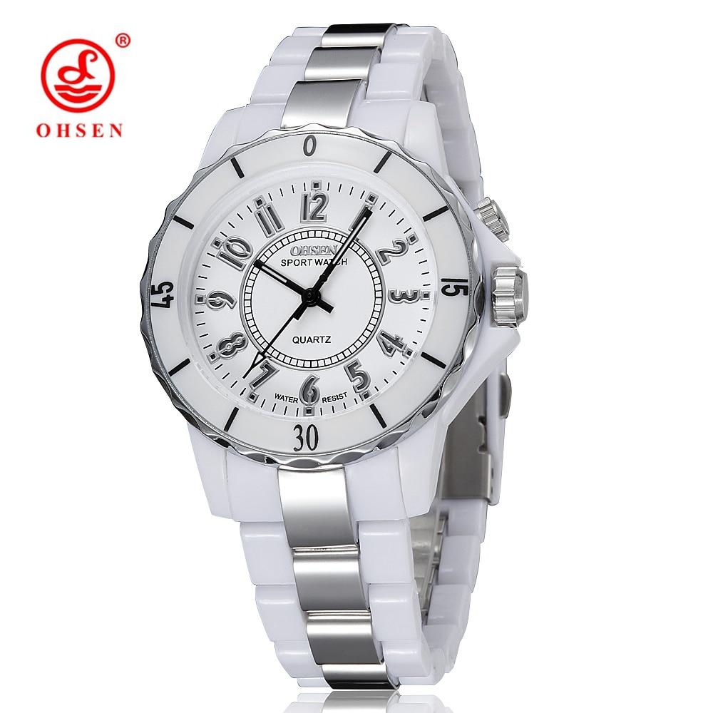 Prix pour Top vente OHSEN Marque Quartz LCD Dames Femmes Montre-Bracelet De Luxe Blanc Bande 10 M Étanche Robe De Mode De Cadeau Montres Reloj mujer