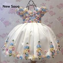 Elegant Ball Gown Little Girls Pageant Holy Communion Dresses with Handmade Flowers Short Sleeves O Neck Flower Girls Dresses