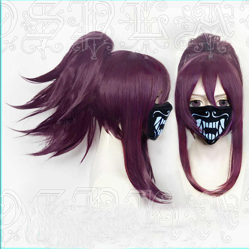 LOL S8 League of Legends девушка K/DA кДа Akali космического аппарата изгой, Assassin Косплэй парик со съемной чипом хвостик + парик Кепки