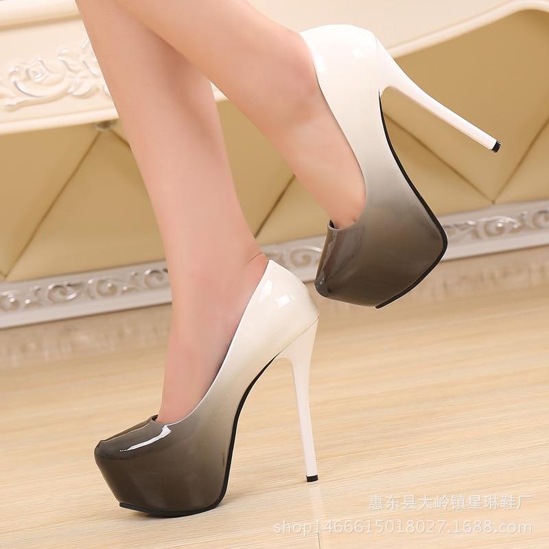 Señaló Zapatos Boca púrpura Impermeable Gris De Nocturno La Mujer Solos Super Plataforma Baja Alto rojo Club Tacón 2019 Modelos Nuevos Color Un7pE