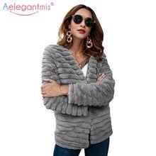 c41ae92ccff Aelegantmis elegante abrigo de piel sintética mullido para mujer 2018 otoño  invierno nuevo cárdigan cálido chaqueta peluda moda .