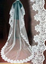wedding veil long 5 meter 10 White/Ivory bride with lace edge veu de noiva longo com renda metros velo sposa
