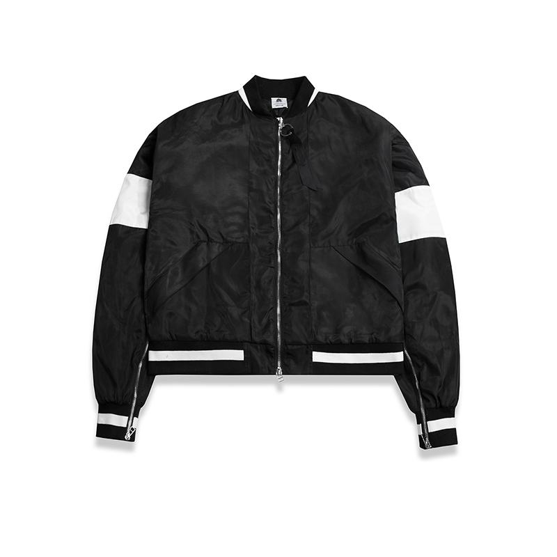 Color-Blocked Padded Bomber Jacket Men Sleeve-Zip Shawl Collar Coats Windbreaker Free Shipping sleeve patched shoulder zip bomber jacket