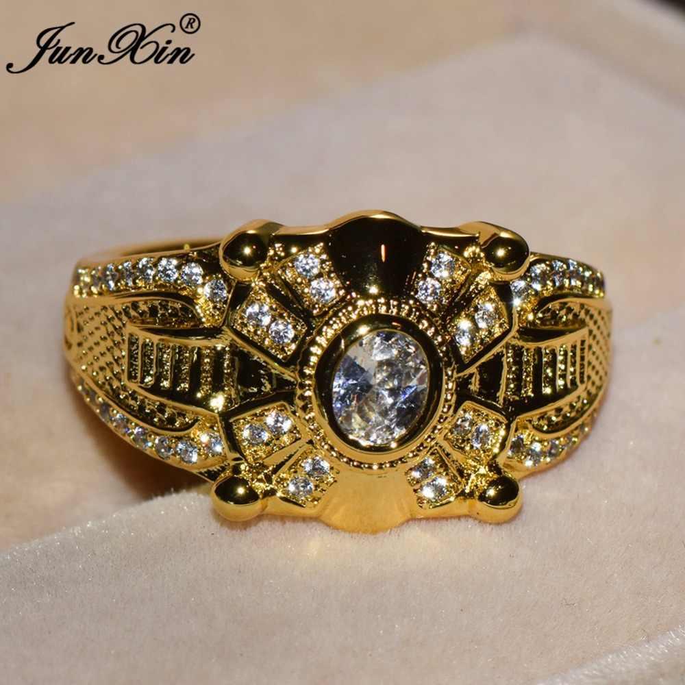 JUNXIN Luxury ชายหญิงใหญ่สีขาวหินแหวนแฟชั่น 10KT สีเหลืองทองเครื่องประดับ Vintage แหวนผู้ชายและผู้หญิง