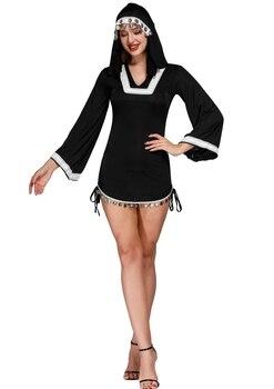 8e8dd74ee Vestido de baile de lentejuelas disfraz de monja Sexy para mujeres adultas  Cosplay vestido con capucha negra para Halloween disfraz de hermana Cosplay  ...