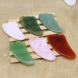 Natuurlijke Jade Guasha Schrapen Massage Schraper Gezicht Massager Board Rozenkwarts Agaat Acupunt Facial Eye Care(China)