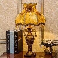 TUDA LED Table Lamp Fabric Table Lamp Bedroom Bedside Living Room Study Retro Resin Table Lamp E27 110V 220V