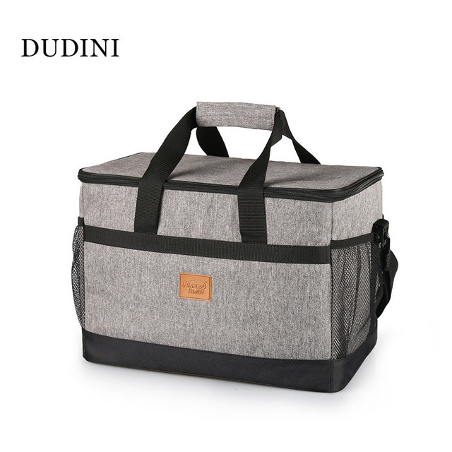 DUDINI Gray Portable Lunch Bags Multifunction Waterproof Lunch Bags For Women Oxford Cloth Large Capacity Insulation Picnic Bag