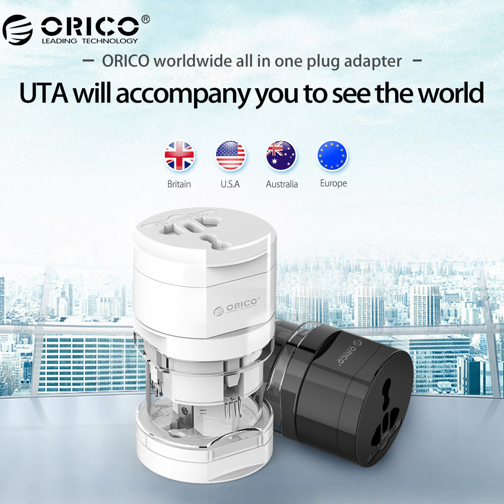 ORICO UTA Electrical Universal Adapter Plug Travel Power Socket Converter Outlet All in One Worldwide Use US/UK/EU/AU For Travel travel adapter