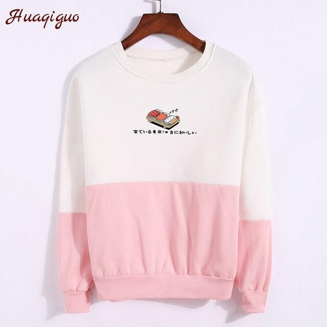 2017 Winter Hoodies Spell Color Patchwork Women Kawaii Sushi Japanese Words Printed Sweatshirt Fleece Pullover Female Tracksuit