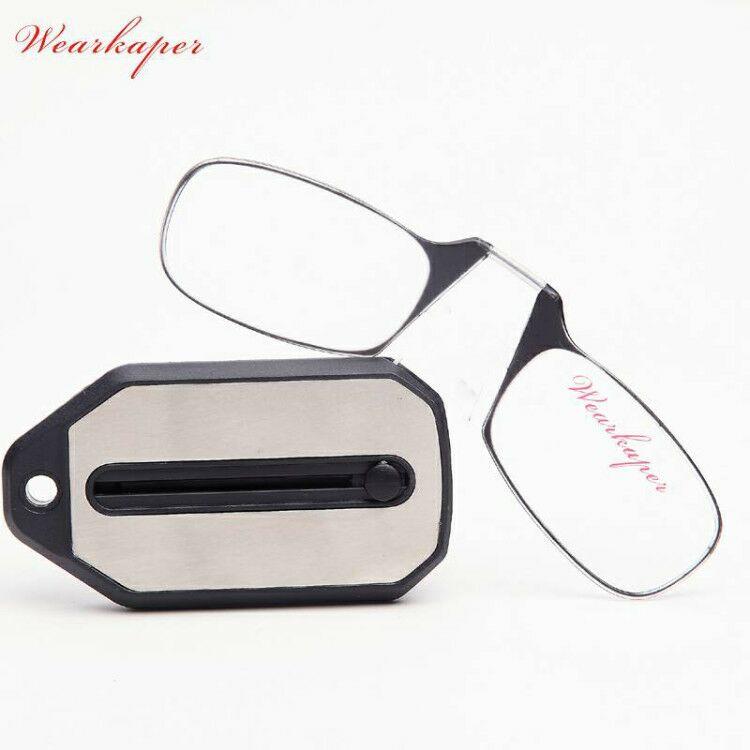 WEARKAPER Mini Folding Lesebrille Titan Brille Männer Oculos De Grau Mit Schlüsselanhänger Original Box 1,0 1,5 2,0 2,5 3,0