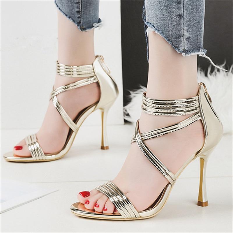 71d267f460ba1 Gold Gladiator Sandals Women Fashion 2018 Women Sandals High Heel 9.5 CM  Women Summer Shoes