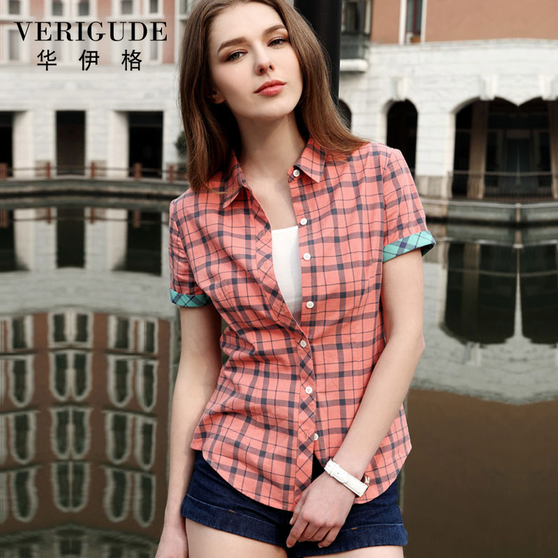 Veri Gude Summer Style Plaid Shirt For Women In Style 6 Color Short Sleeve Blouse Free Shipping Turn-Down Collar 100% Cotton