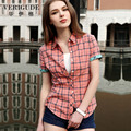 Veri Gude Summer Style Plaid Shirt Women In Style 6 Color Short Sleeve Blouse Free Shipping  Turn-Down Collar 100% Cotton