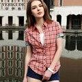 Veri gude verão camisa xadrez estilo mulheres em estilo 6 cor turn-down collar de manga curta blusa frete grátis 100% algodão