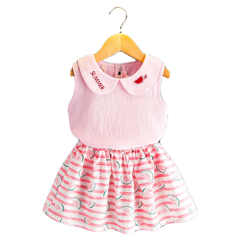 2018 New Summer Girls Clothes Tops + Skirts 2pcs Kids Suits for 2 3 4 5 6 7 8 Year Girl Casual Cartoon Children Clothing Set yellow dino boy clothes set roar children t shirt plaid pant suit kids outfit 100% cotton tops panties 2 3 4 5 6 7 year clothing