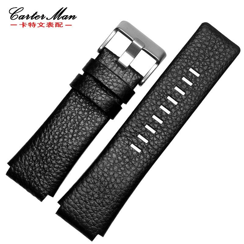 dz1131 popruh - New High quality Genuine leather 28*20mm 28*22mm watchband for DZ1123 DZ1131 black men watch bracelet