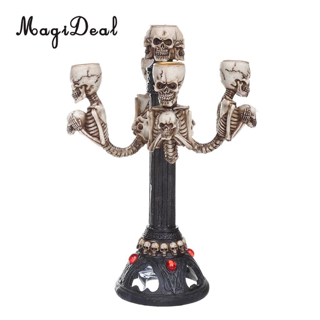 MagiDeal Gothique Crâne Squelette Halloween Punk Center de Table Stand De Mariage Décoratif Bougie Bâton Titulaire Home Decor