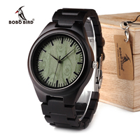 Classic Ebony Wooden Men S Watch Green Wooden Dial Ebony Wooden Band Quartz Watches As The