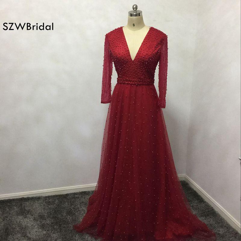 New Arrival Custom made V Neck Long sleeve   Prom     dresses   2019 Saudi Arabia Kaftan Red   Prom     dress   vestido de festa