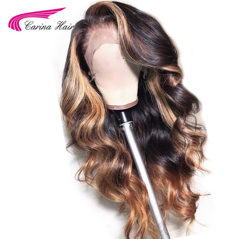 Brésilienne 360 dentelle frontale perruque pré plumée avec des cheveux de bébé pour les femmes Remy cheveux Ombre couleur perruque cheveux humains préplumés