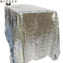 купить BITFLY 120x180cm Sparkling rose/Gold/Silver Embroidery Mesh Sequin Tablecloth Table Cover Overlay for Wedding/Party Decoration дешево