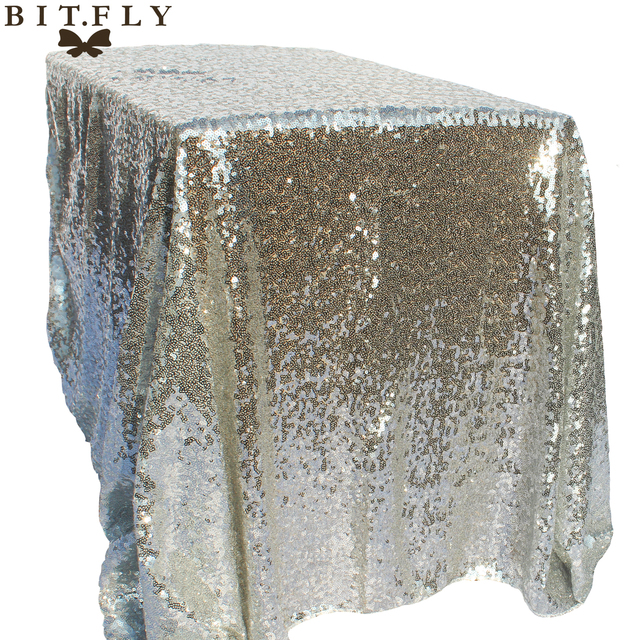BITFLY 120x180cm Sparkling Rose/Gold/Silver Embroidery Mesh Sequin  Tablecloth Table Cover Overlay For