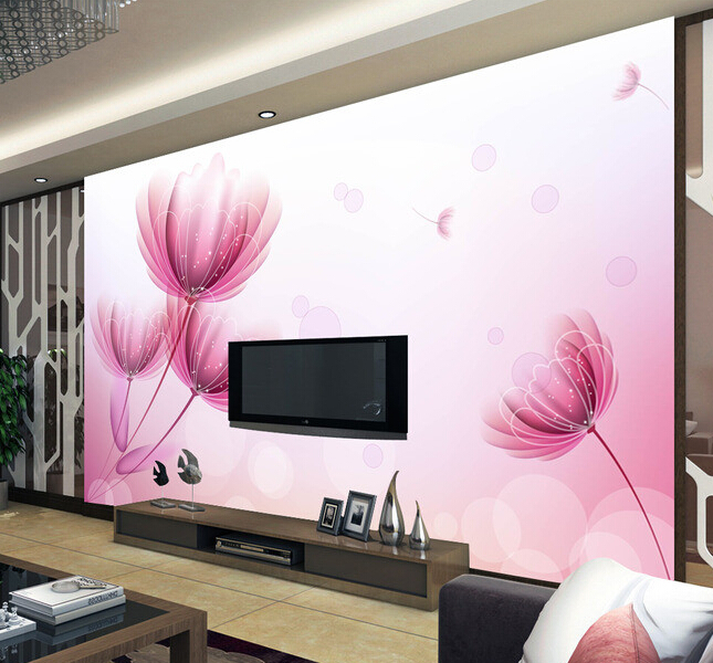 Custom papel DE parede 3 d, pink flower murals for the living room bedroom TV background wall waterproof wallpaper декор impronta ceramiche square wall blu formelle glitter 12 25x25