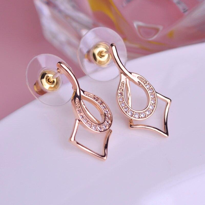 Chic Design Copper Earrings Gold color Women Geometric Earring Ear ...
