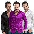 2016 diseñador de la Marca Para Hombre Slim fit Camisas de Vestir de Algodón de Seda azul de Alta Calidad Casual de Negocios Camisa de manga larga Más Tamaño 4xl