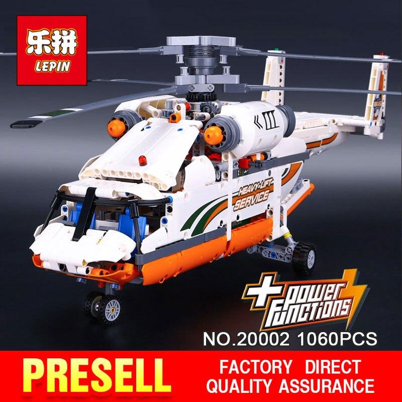 NEW LEPIN 20002 technic series 1060pcs Double rotor transport helicopter Model Building blocks Bricks Compatible 42052 Boy toys new lp2k series contactor lp2k06015 lp2k06015md lp2 k06015md 220v dc