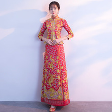 Red Bride Qipao Long Traditional Chinese Style Wedding Dress Embroidery Cheongsam Phoenix Traditionnel Chinois Vestidos Chineses