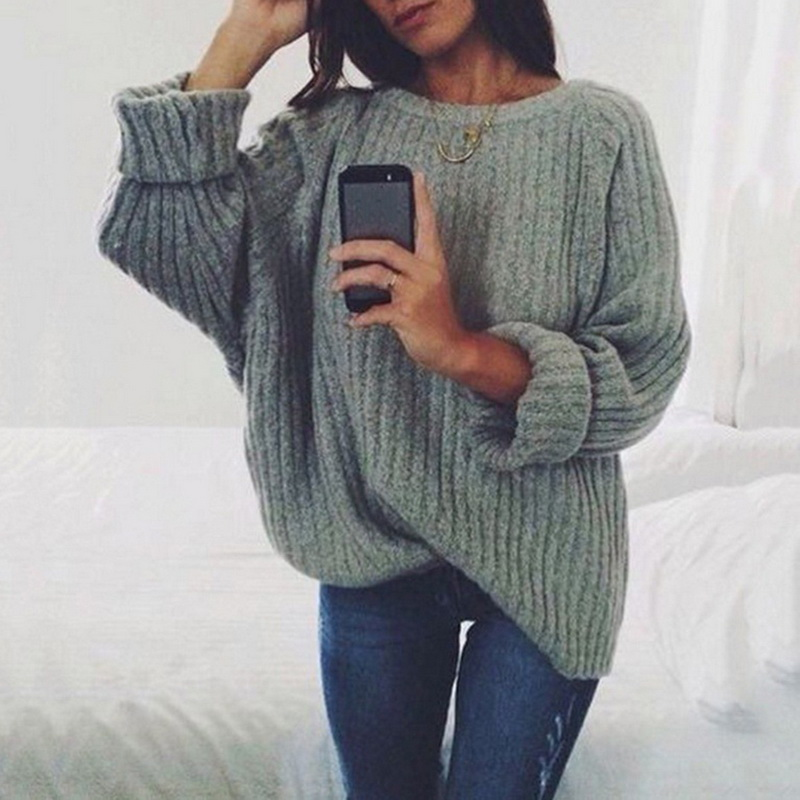 Laamei Women Solid O Neck Knitted Sweater 2019 Autumn Winter Fashion Female Pullover Sweaters Ladies Loose Knitwear Dropshipping