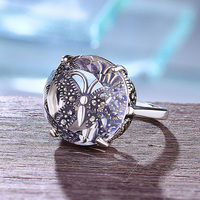 Genuine Solid Sterling Silver Ring 925 For Women Large Natural Crystal Antique Women's Rings Gemstone Beautiful Fine Jewelry
