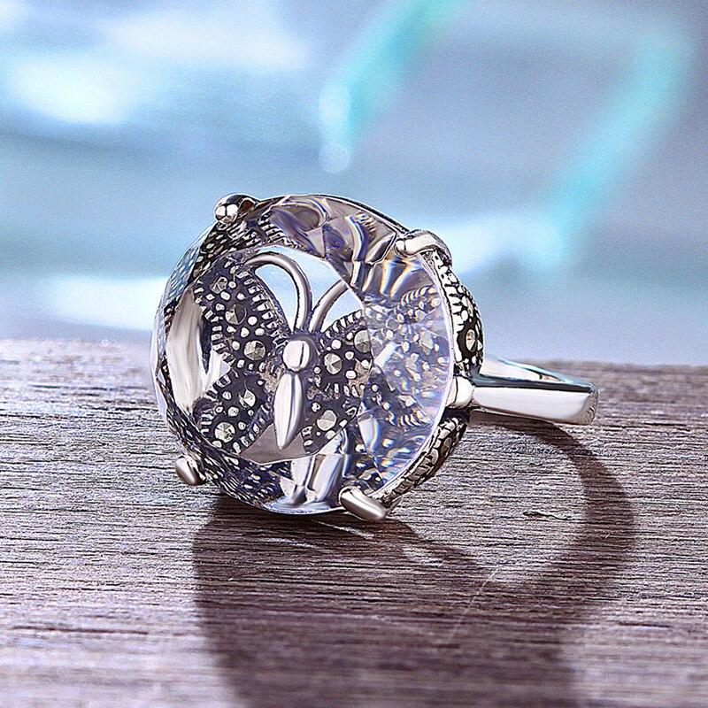 Véritable bague en argent Sterling massif 925 pour les femmes grand cristal naturel Antique bagues pour femmes pierres précieuses beaux bijoux fins