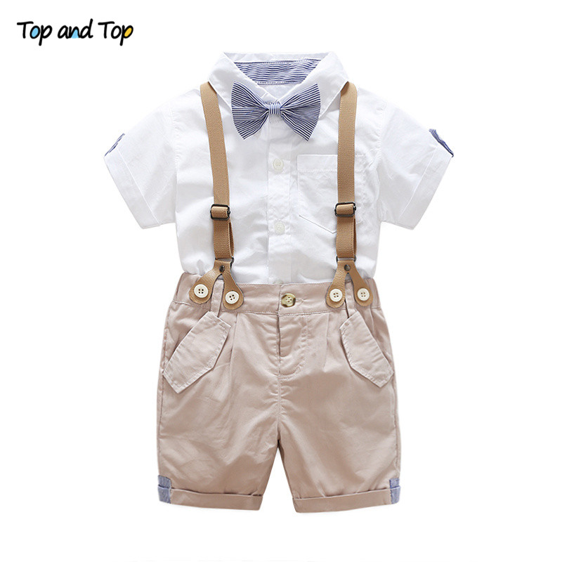 Top and Top Summer Toddler Baby Boys Clothing Sets Short Sleeve Bow Tie Shirt+Suspenders Shorts Pants Formal Gentleman Suits knot front tie dye top with shorts