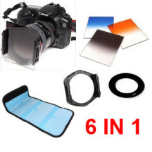 6 In 1 Lens Filter Kit Filter Bag 49 52 55 58 62 67 72 77 82mm Adapter Ring Keep Holder Gradient Blue Orange Gray Cokin P Filter