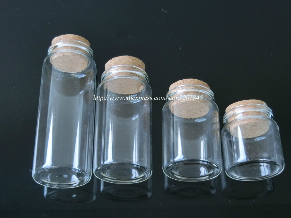 5pcs exquisite glass bottles vials jars with cork corks for Decorative vials